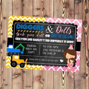invitaciones para cumpleaños de gemelos
