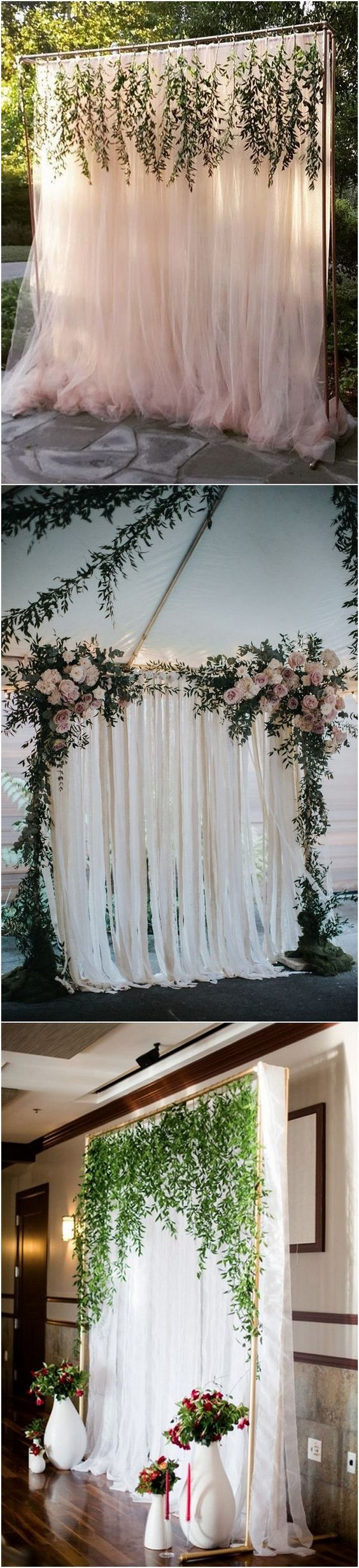 photocall con telas y flores