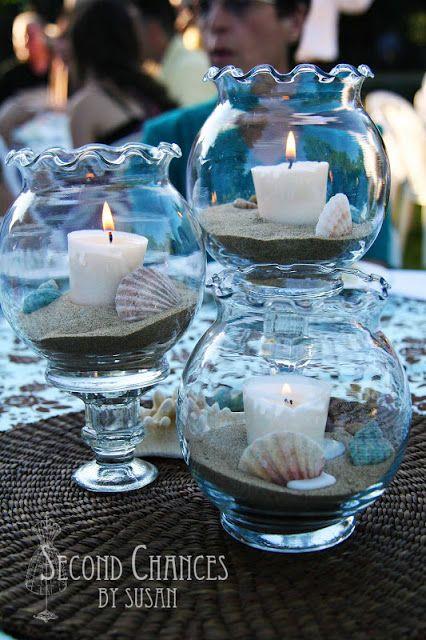 Centros de mesa con velas para baby shower