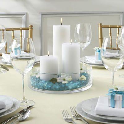 Centros de mesa con velas para comunion