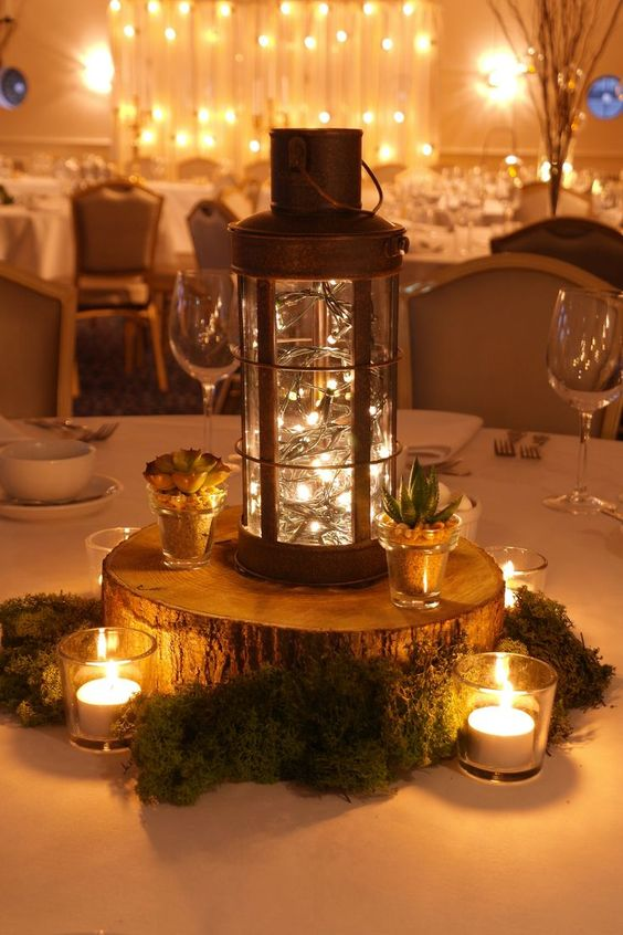 Centros de mesa con velas rusticos