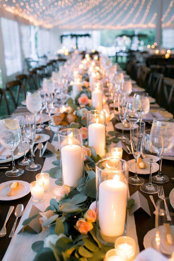 Centros de mesa con velas sencillos