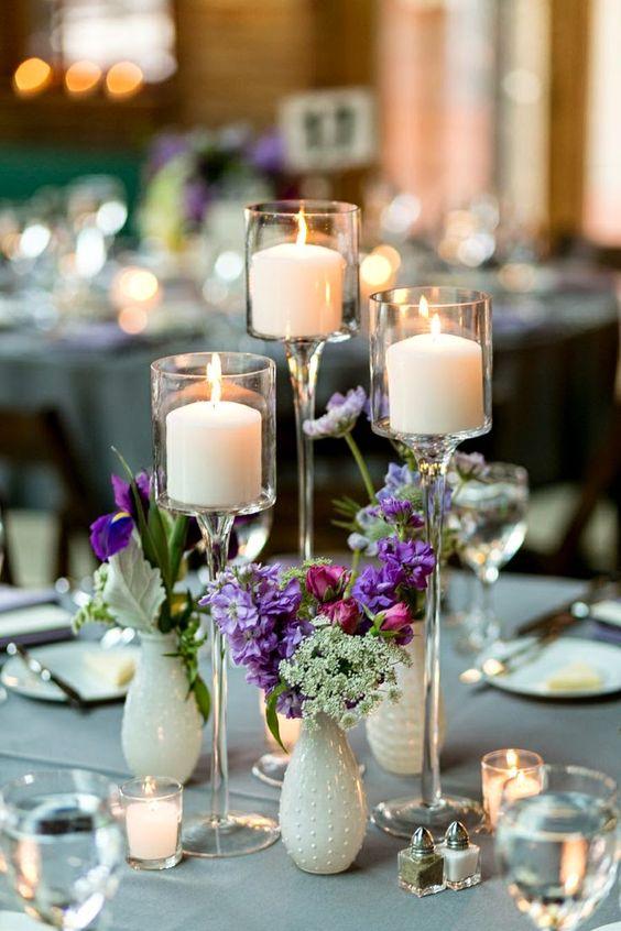Centros de mesa con velas y copas