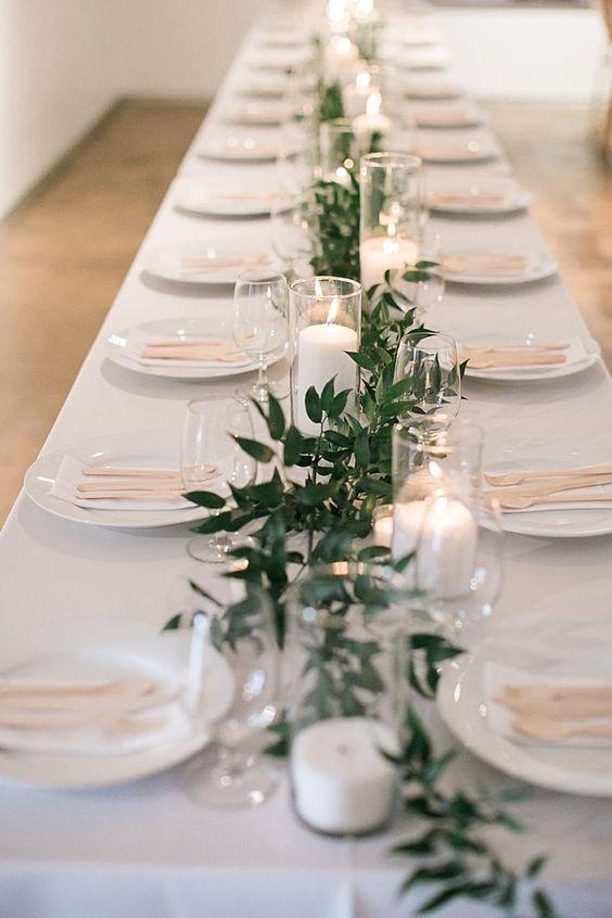 Centros de mesa minimalistas con velas