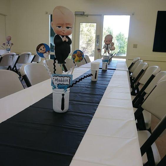 centros de mesa para fiesta jefe en pañales