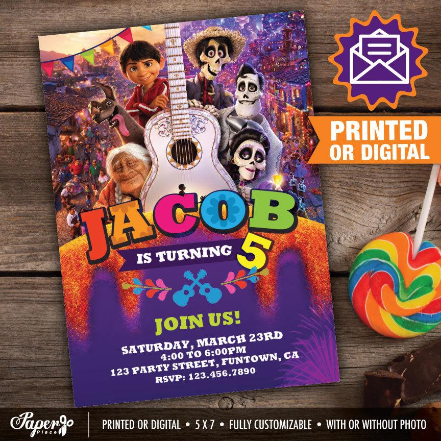 Invitaciones para fiesta de Coco para imprimir