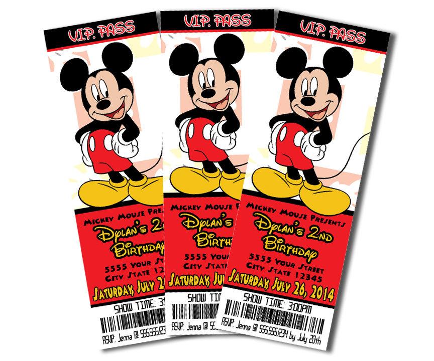 invitacion de mickey mouse ticket master