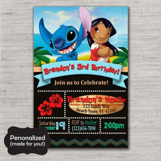 Invitaciones de lilo & stitch