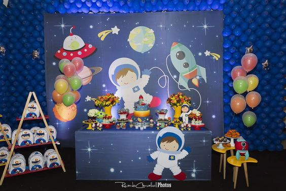 Mesa Principal De Baby Shower Nino.Fiesta Infantil Con Tema De Astronautas 30 Ideas Para