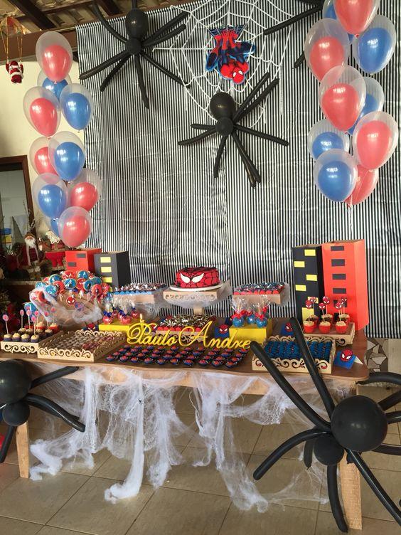 decoracion del hombre araña para fiestas infantiles