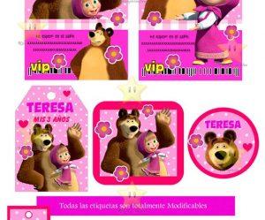 Etiquetas de candy bar masha y el oso para imprimir