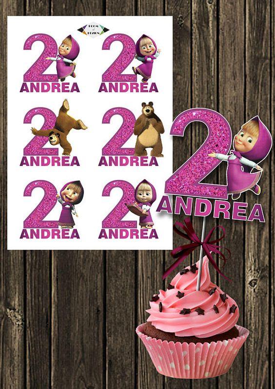 Etiquetas personalizadas de candy bar masha y el oso