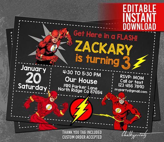 Invitaciones para fiesta infantil de flash