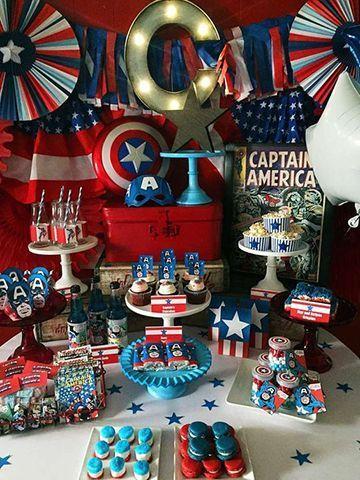 Decoración de capitan america para fiestas