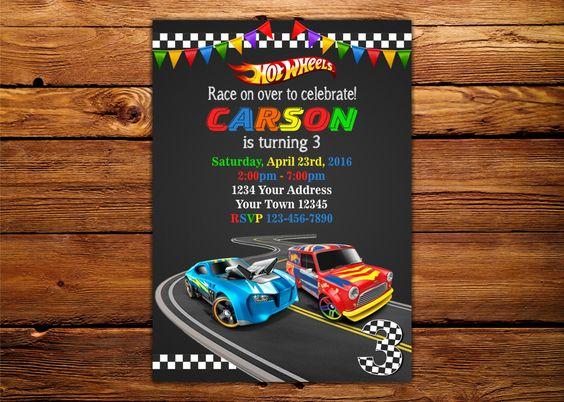 Diseños de invitaciones para fiesta de hot wheels