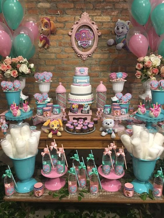 ideas para decorar candy bar paw patrol