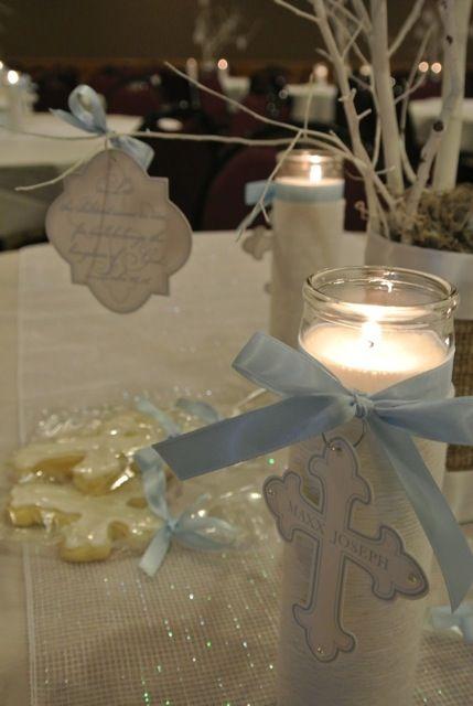 Centros de mesa para bautizo con velas