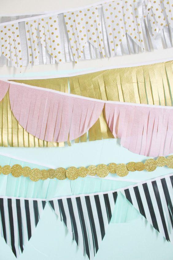 Colgantes modernos para decorar fiestas estilo banderines