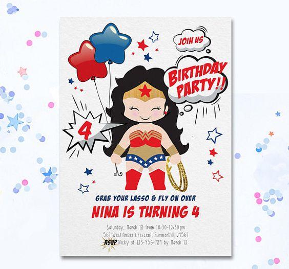 invitaciones para fiesta de la mujer maravilla