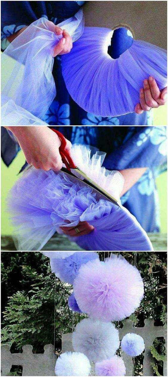 Como hacer pompones de tul