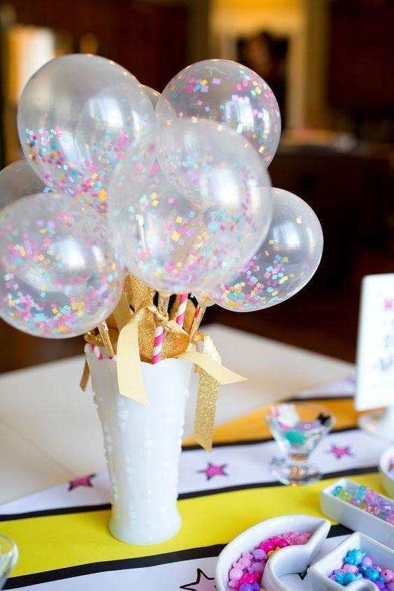 Centros de mesa para fiestas tematicas de confeti