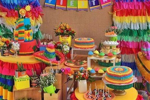 decoracion en colores mexicanos para fiestas