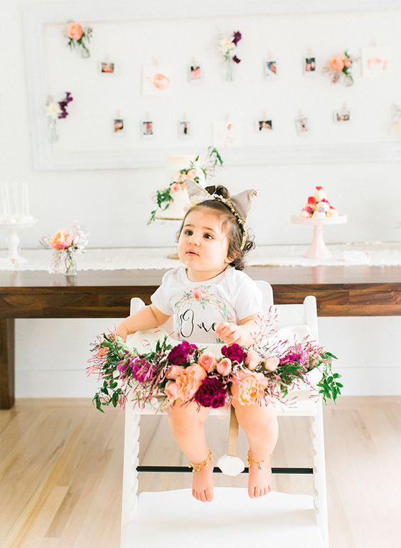 Sillas altas decoradas para niña