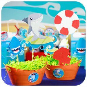 Centros de mesa para fiesta de baby shark