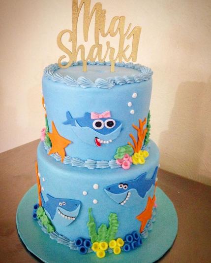 Pasteles para fiesta de baby shark