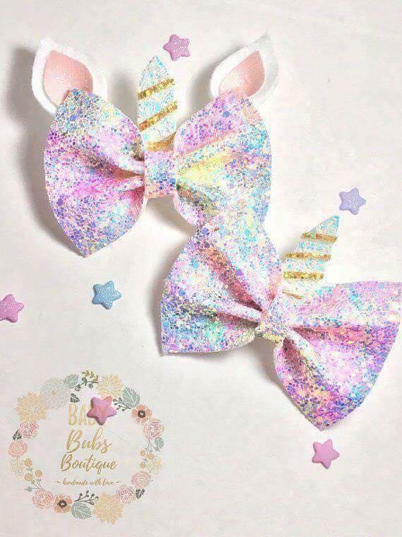 moños y diademas de unicornio para niñas